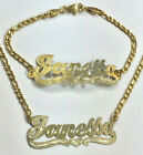 Personalized 14k gold overlay Name Necklace and bracelet set yellow