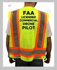FAA DRONE PILOT HIGH VISIBILITY SAFETY YELLOW VEST BLACK DESIGN M L XL NEW