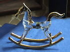 NEW Hand Blown Glass Rocking Horse Animal Gold Accents Trim Collectible Figure