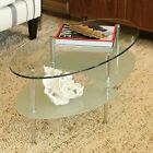 Oval Glass Coffee Table Living Room Small Unique Modern Mirrored Sturdy