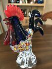 Rare Vintage Hand Blown Murano Art Glass Rooster 9 Red Cobalt Blue Multi Color