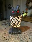 Vintage Hoot Owl Stained Glass Table Lamp Night Light Tiffany Style