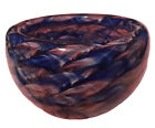 Multicolor Blue Pink White Hand Blown Glass Bowl Made In Seattle 6 Diameter
