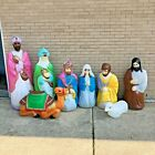 Vintage Empire Life Size Blow Mold 8 piece Nativity missing baby Jesus CT
