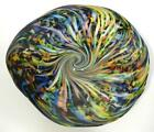 HAND BLOWN GLASS ART WALL PLATTER BOWL PLATE DIRWOOD RAINBOW  BLACK n3489