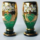 Vintage CZECH BOHEMIAN GOLD GILT Hand Painted Green Glass Goblet Cup Set OF 2