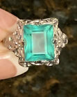 Antique Art Deco UNCAS Signed Sterling Silver Ring Green Glass Emerald Cut Stone