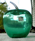 Blenko Glass Apple with Original Sticker Antique Green
