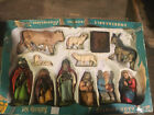 Antique Hand Painted Bavarian Forest W Germany Nativity Set In Box