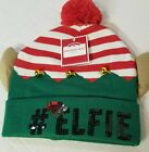 NWT #ELFIE Green Holiday Bells Beanie Hat With Ears and Pom: One size fits most