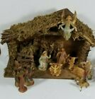 Nativity Set Stable Creche Manger Moss Wood Angel Shepherd Jesus Wise Men
