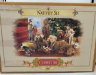 Rare 2002 Grandeur Noel 9 Piece Christmas Nativity Set Fabric Mache