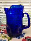 1981 Blenko Hand Blown Crackle Art Glass Large 9 Water Sapphire Pinched Pitcher