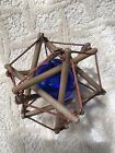 Wooden Moravian Star w Blue Glass Ball In Center