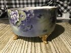 VINTAGE FRANCE DC HAND PAINTED Footed Dish 75w 325d VIOLETS Beautiful