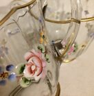 Vintage Gold Rim Cream  Sugar Hand Painted Floral Glass Set