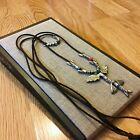 NWT Uno de 50 Long Leather Necklace Fish Murano Glass Beads Profundo