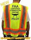 NEW FAA CERTIFIED DRONE PILOT HIGH VISIBILITY SAFETY VEST BLACK DESIGN LOGO M XL