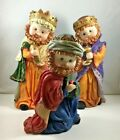 Three Kings Nativity Figurines large 9 child Wisemen composite Magi Bethlehem