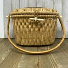 Vintage Hand Made Nantucket Light Ship Hand Bag Basket Swing Handle