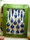 41 Holiday Time Glass Ornaments Various sizes shapes blue Original Boxes mini