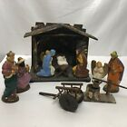 Vintage Putz Nativity Creche Manger scene German 11 piece set