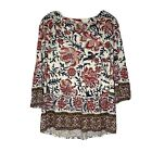 Lucky Brand Blouse Top Floral 3 4 Sleeve Plus Size Womens 1X