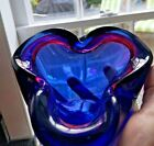Alfredo Barbini Murano Purple Blue  Red Italian Art Glass Bowl Three Pinch