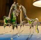 Rare hard to find lot of 2 clear  green Murano Glass Horse pony ponies ESTATE