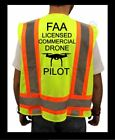 FAA DRONE PILOT HIGH VISIBILITY SAFETY YELLOW VEST BLACK DESIGN DRONE M XL