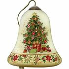 Art Hand Painted Blown Glass Merry Christmas Ornament Multicolor Petite Bell New