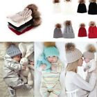 2pcs Mother Baby Toddler Kids Warm Knitted Fur Pom Bobble Hat Beanie Cap Winter