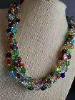 Vintage Venetian made in Italy 5 strand 18 glass beaded necklace