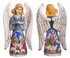 Wooden Hand carved Angel 13 hand painted Nativity Scene Christmas decorations