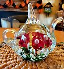 Vintage Murano Art Glass Teapot Paperweight Flowers Red white green NICE
