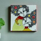 Small Painting on Canvas 6x6 Original Acrylic Sweet Sisters