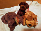 TY BEANIE BABIES  THE BROWN DOGS: FETCHER, SEADOG, MUDDY