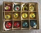 Glass Balls Glitter Indent Ornaments Set of 12 Boxed Vintage Old World Christmas