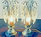 Antique PAIR Crystal Waterfall Luster Lamps Glass Crystals Works FREE SHIP