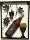 Very Unique Vineyard Metal Wall Art Grapes Vine Bottle and Glass 14x19