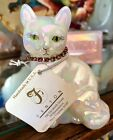 FENTON GLASS OCTOBER CAT ROSE ZIRCON COLLAR WITH TAG GORGEOUS EXCELLENT