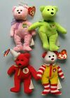 Ty Beanie Bears 4 Lot (2 w/ Tags) 2001/2004 McDonald's ~ Eggs Ronald 25 Years +