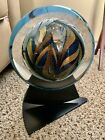 Rollin Karg Hand Blown Signed Dichroic Art Glass Disc with Stand Sculpture