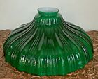 Vintage Lamp Shade Sheffield Cased Green Opal Torchiere Glass 9 Ribbed 2 1 4