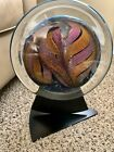 Rollin Karg Hand Blown Signed Dichroic Art Glass Disc 11 with Stand Sculpture