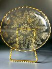 Antique Bohemian Moser cut Glass Gold encrusted engraved Dish Bowl
