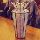 pink vintage stained cut stained glass vase fused with lead excellent condition