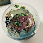 Josh Simpson Inhabited Planet Art Glass Paperweight 2001 3+ Inches dia NICE