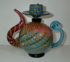 Christian Thirion Signed Art Glass Tea Pot Aqua and Magenta 8 x 85
