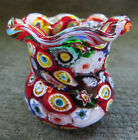 Fratelli Toso Murano Millefiori Cane Glass Toothpick Holder w Ruffled Edge